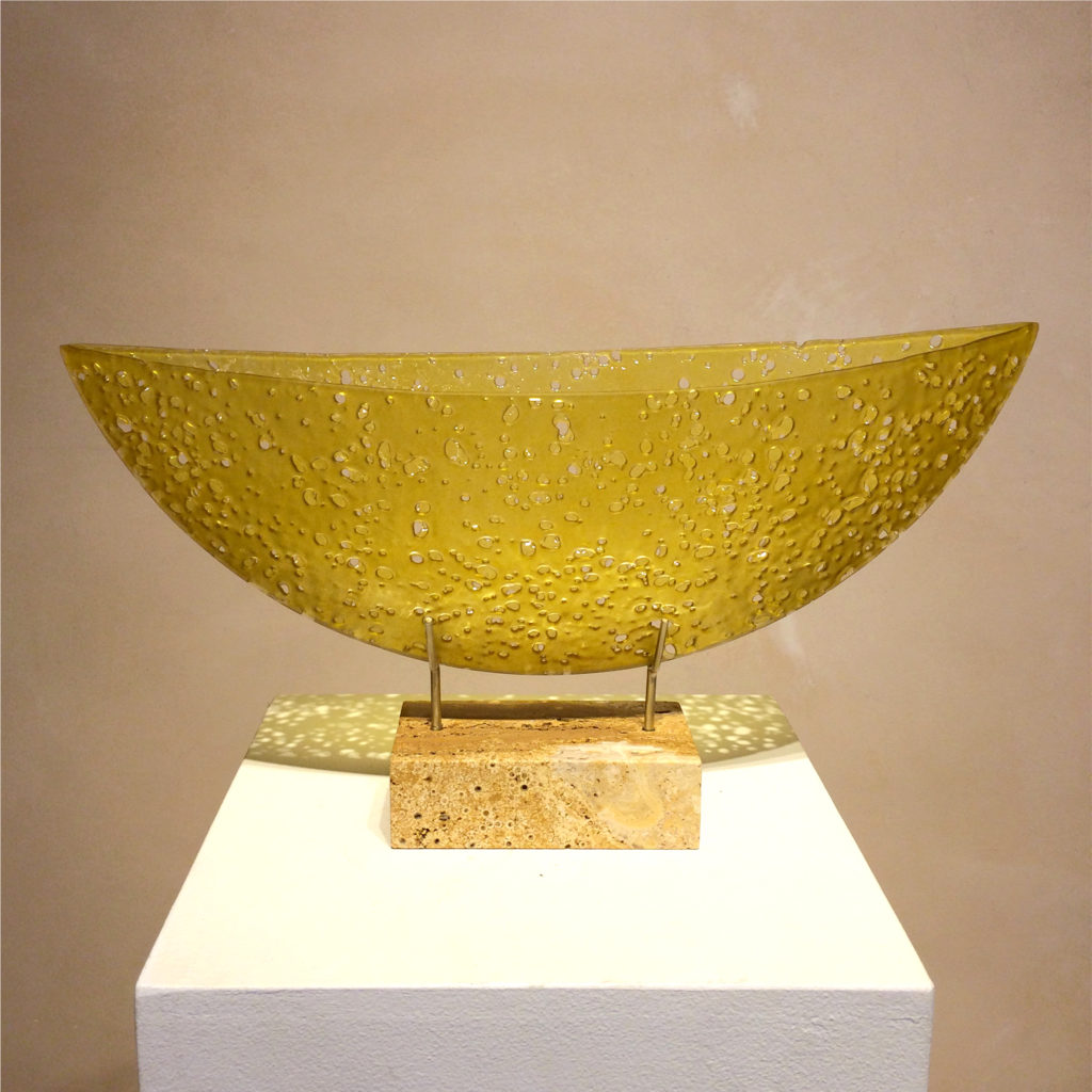 translucent yellow glass sculpture