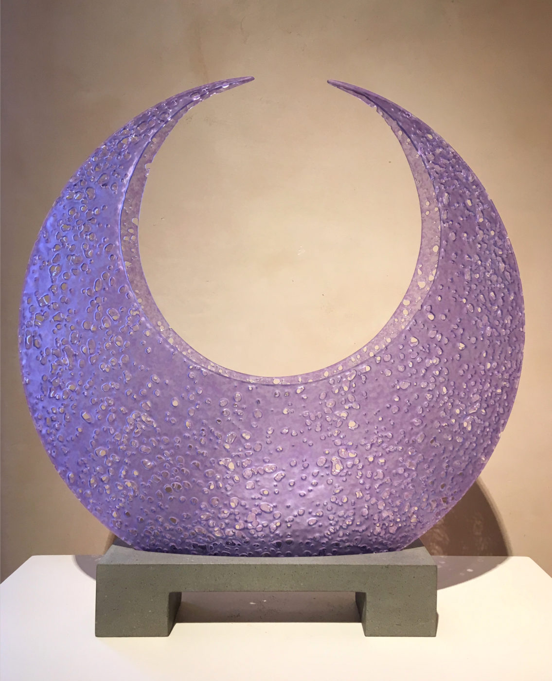 translucent lavender glass sculpture