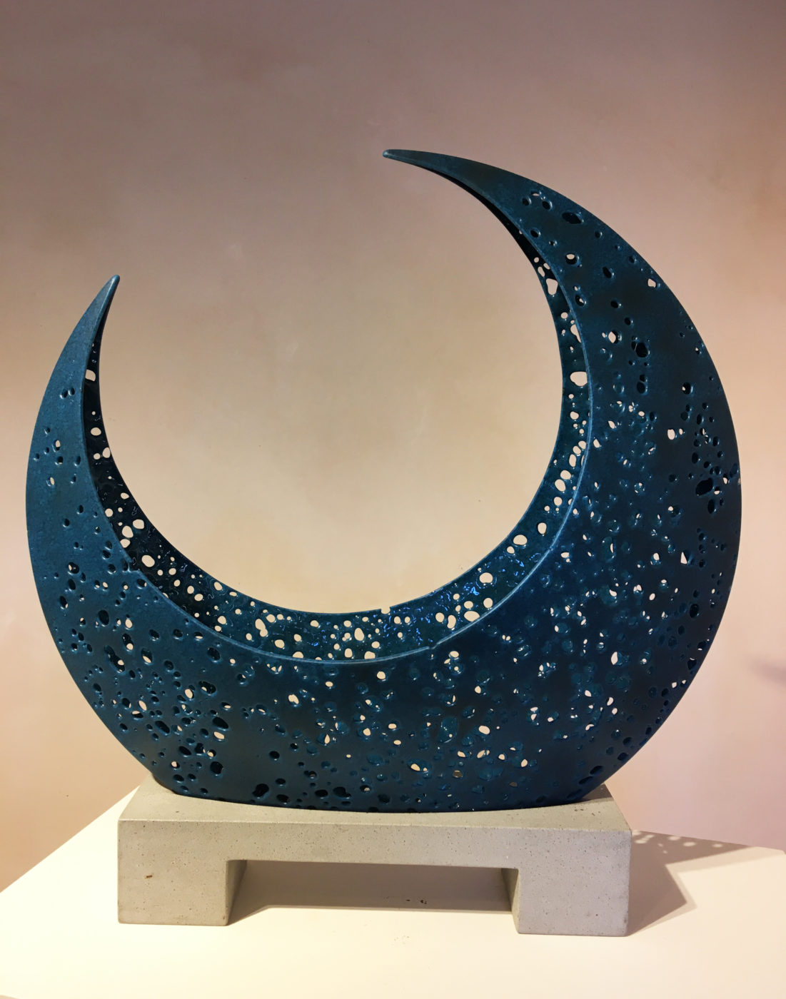 midnight blue glass sculpture