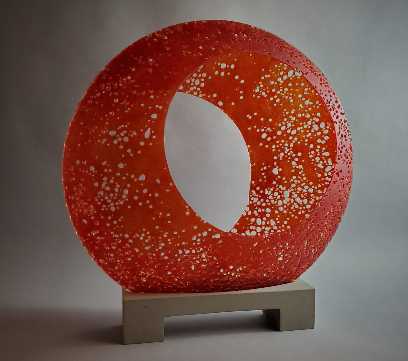red glass sculpture